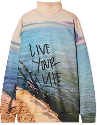 Marques Almeida Marques' Almeida - Oversized Printed Jersey Turtleneck Sweatshirt - Sky blue