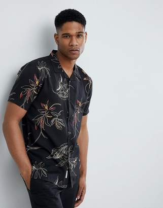 Bellfield Short Sleeve Revere Collar Shirt With Leaf Print