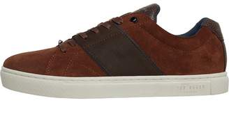 Ted Baker Mens Dannez Suede Trainers Dark Tan