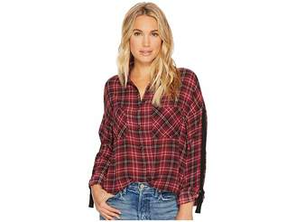 BB Dakota Emiley Plaid Printed Crepe de Chine Top Women's Clothing