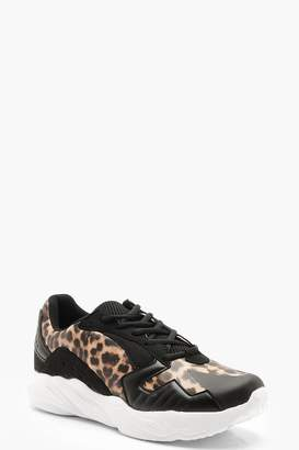 boohoo Leopard Panel Chunky Trainers