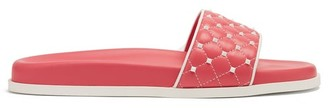 Valentino Free Rockstud Leather Slides - Womens - Pink White
