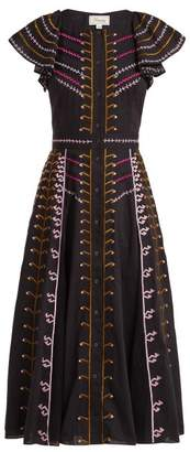 Temperley London Expedition Embroidered Cotton Ruffle Midi Dress - Womens - Navy Multi