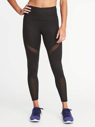 Old Navy High-Rise Mesh-Trim 7/8-Length Compression Leggings for Women