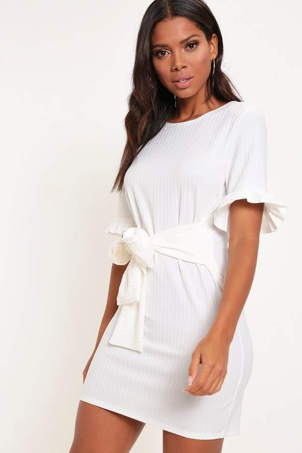 Isawitfirst Cream Ribbed Tie Waist T-Shirt Dress