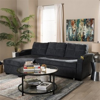 Baxton Studio Lianna Modern and Contemporary Dark Grey Fabric Upholstered Sectional Sofa