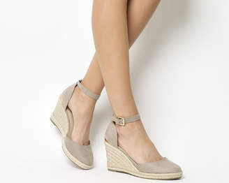 a8fc7e8052e Office Marsha Closed Toe Espadrille Wedges Taupe With Gold Heel Clip