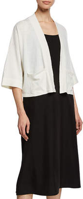 Eileen Fisher Open-Front 3/4-Sleeve Short Cardigan with Pockets, Plus Size