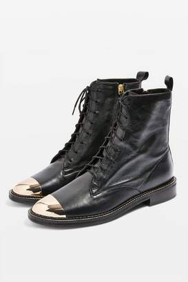 Topshop Womens Axel Lace Up Crocodile Boots
