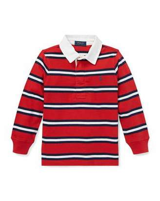 Ralph Lauren Childrenswear Long-Sleeve Striped Rugby Top, Size 5-7