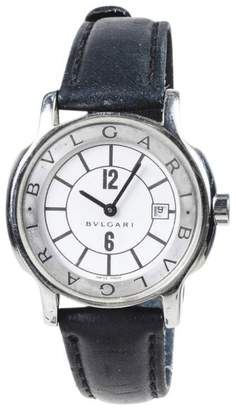Bulgari Solotempo Stainless Steel with Black Leather 25mm Womens Watch