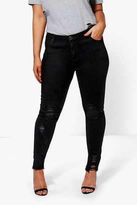 boohoo Plus Emma Raw Edge Ripped Skinny Jean