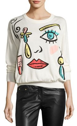 Boutique Moschino Fantasy-Print Crewneck Sweater, White $525 thestylecure.com