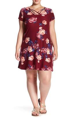 Planet Gold Crisscross Neck Floral T-Shirt Dress (Plus Size)