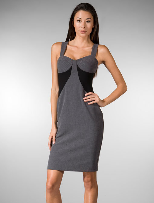 Black Halo Colorblock Trapunto Sheath Dress in Charcoal & Black