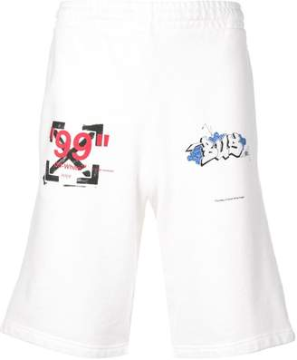 Off-White logo print shorts