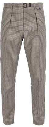 Prada Belted Checked Wool Blend Trousers - Mens - Multi