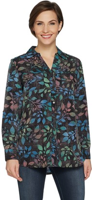 Denim & Co. Printed Woven Button Front Roll Tab Sleeve Tunic