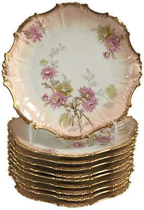 One Kings Lane Vintage Pink Quartz & Gold Limoges Plates - Set of 10