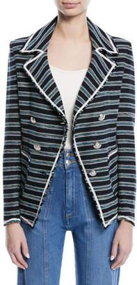 Veronica Beard Carroll Portrait-Neck Striped Tweed Double-Breasted Jacket