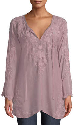 Johnny Was Butterfly Winter Rayon Tie-Neck Tunic, Plus Size
