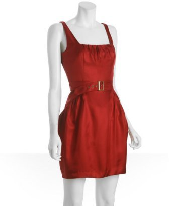 Vera Wang Lavender Label red silk square neck belted dress