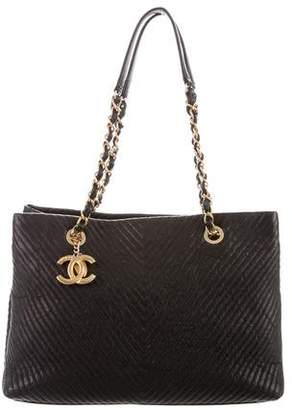 Chanel Chevron Quilted Shopping Tote