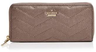 Kate Spade Reese Park Lindsey Metallic Leather Continental Zip Wallet