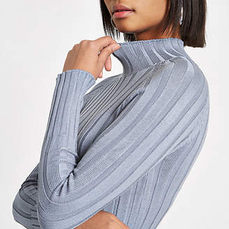 River Island Blue knit ribbed high neck top