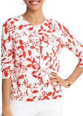 Foxcroft Foliage-Print Cotton Cardigan $89 thestylecure.com