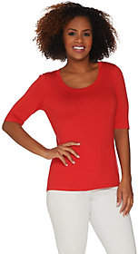 Du Jour Scoop Neck Elbow Sleeve Curved HemlineKnit Top
