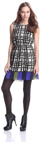 Anna Sui Women's Tweed Plaid Print Crepe De Chine Sleeveless Dress, White Multi, 6 US