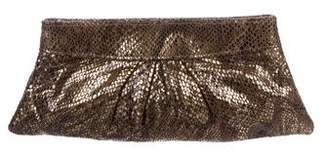 Lauren Merkin Metallic Embossed Leather Clutch