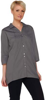 Joan Rivers Classics Collection Joan Rivers Boyfriend Shirt with Asymmetric Hem and 3/4 Sleeve