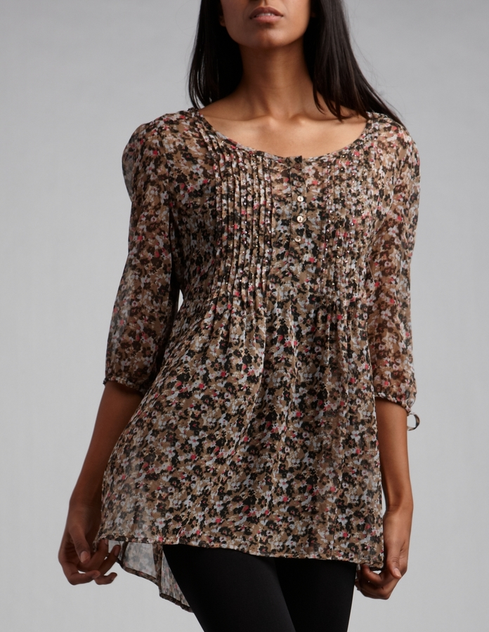 Pintuck Pleated Chiffon Floral Tunic