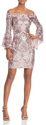 Aqua Sequin Off-the-Shoulder Dress - 100% Exclusive