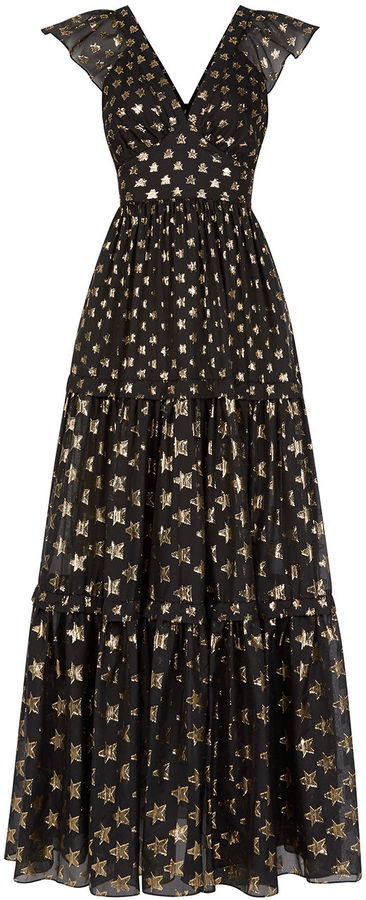 Temperley London Black Star Print Peggy Dress