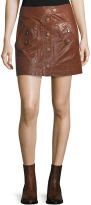 Veronica Beard Monroe A-Line Cargo Leather Skirt