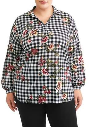 New York Laundry Women's Plus Size Balloon Sleeve Shirt Tail Tunic