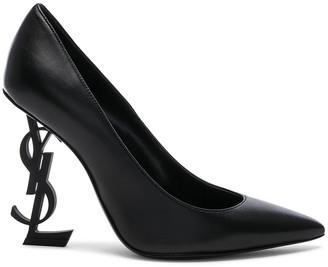 Saint Laurent Opium Leather Monogramme Heels in Black & Black | FWRD