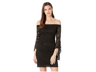 Bebe Bell Sleeve Off Shoulder Lace Dress Women's Dress
