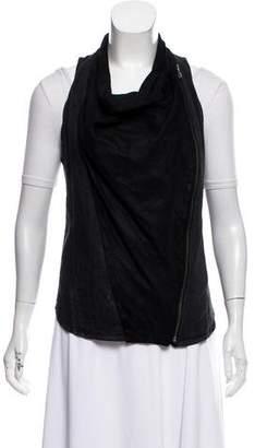 Helmut Lang Leather- Accented Sleeveless Jacket