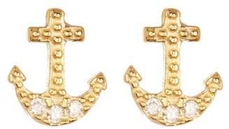 GILDED BY KATIE DIAMOND Anchor Stud Earrings