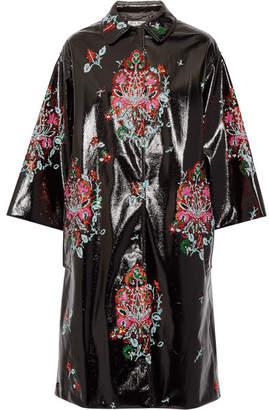 Miu Miu Oversized Sequin-embellished Faux Patent-leather Coat - Black