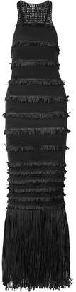 Eleven Paris SIX - Rebecca Crocheted Cotton-blend Fringed Tiered Gown - Black