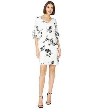Lauren Ralph Lauren B822 Payson Floral Crepe Kyra Short Sleeve Day Dress