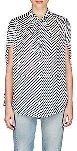 Balenciaga Women's Striped Crêpe De Chine Blouse - Navy