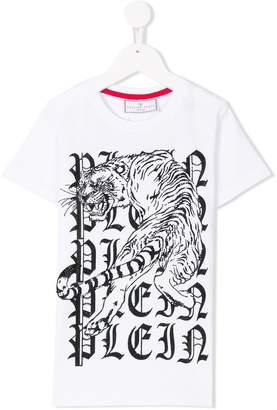 Philipp Plein Junior embellished tiger and logo print T-shirt