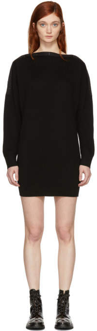 Black Snap Detail Off-the-shoulder Dress