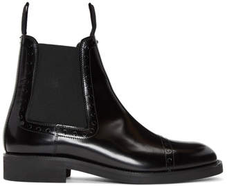 Maison Margiela Black Unfinished Brogueing Chelsea Boots